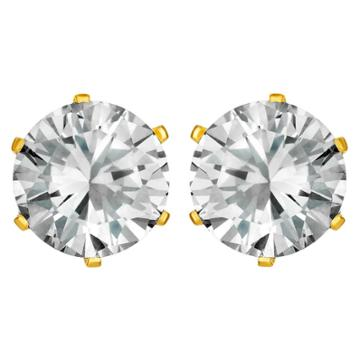 West Coast Jewelry Women's Prong Set Cubic Zirconia Stud Gold Plated Stainless Steel Earrings (8mm) - Gold/clear, Gold Clear