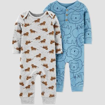 Baby Boys' 2pk Lion Jumpsuits - Just One You Made By Carter's Turquoise Blue Newborn, Boy's