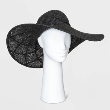 Women's Open Weave Floppy Hats - A New Day Black One Size, Women's