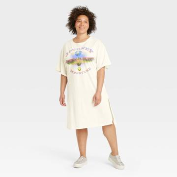 Vintage Concert Tees Women's Plus Size Journey Short Sleeve Graphic T-shirt Dress - Off-white