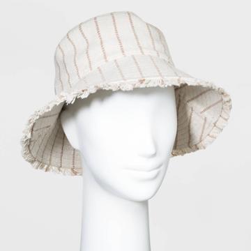 Women's Textured Striped Bucket With Fringe Hats - Universal Thread Tan One Size, Women's, Beige