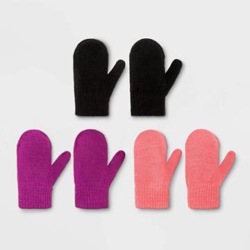 Toddler Girls' 3pk Magic Mitten - Cat & Jack Pink/purple/black 2t-5t, Black/pink/purple