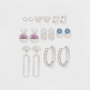 Semi-precious Blue Aventurine And Lilac Lepidolite Earring Set 8pc - Universal Thread