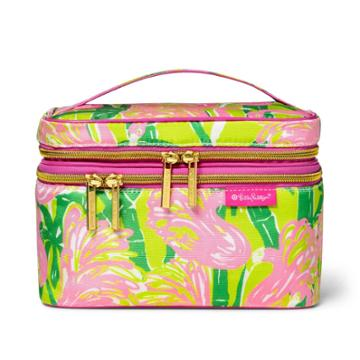10.2x5x4.7 Double Zip Cosmetic Train Case Fan Dance Print - Lilly Pulitzer For Target, Green