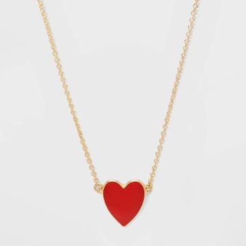 Sugarfix By Baublebar Delicate Heart Pendant Necklace - Red, Women's