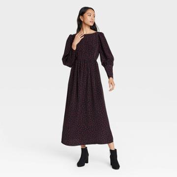 Women's Polka Dot Puff Long Sleeve Dress - Who What Wear Black