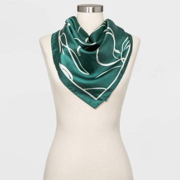 Women's Large Square Floral Print Silk Scarf - A New Day Green One Size, Women's