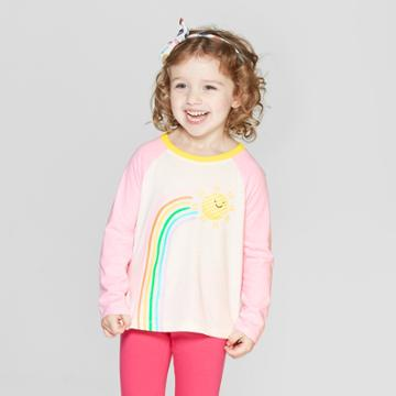 Toddler Girls' Long Sleeve 'rainbow' T-shirt - Cat & Jack Cream/pink