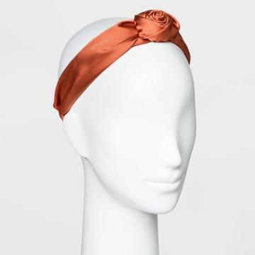 Knot Top Poof Satin Plastic Headband - A New Day Rust, Red