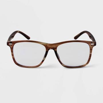 Men's Flat Top Blue Light Filtering Reading Glasses - Goodfellow & Co Brown