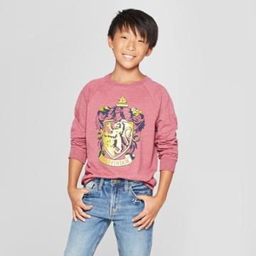 Boys' Harry Potter Crest Long Sleeve Graphic T-shirt - Maroon Heather M, Boy's, Size: