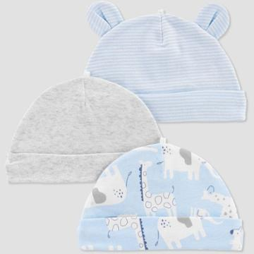 Baby Boys' 3pk Caps - Just One You Made By Carter's Sky Blue Osfm, Boy's,