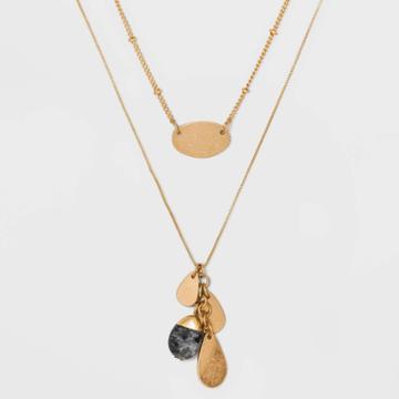 Semi-precious Laboradorite Layered Necklace - Universal Thread Gold