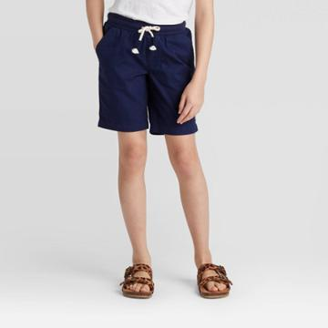 Girls' Knit Waist Twill Bermuda Shorts - Cat & Jack Navy Xs, Girl's, Blue