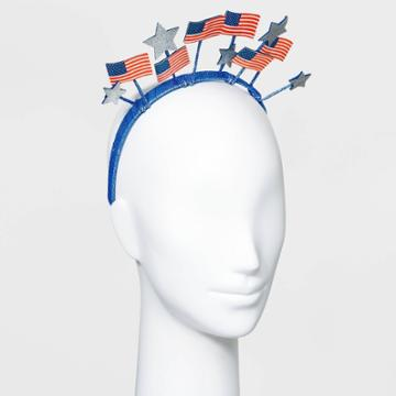 No Brand Glitter American Flag And Stars Ribbon Wrapped Headband