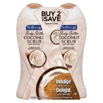 Softsoap Body Butter Coconut Scrub Moisturizing Body Wash