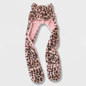 Girls' Leopard Hooded Scarf - Cat & Jack Pink, Girl's,