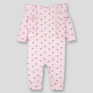 Lamaze Baby Girls' Organic Cotton Heart Romper - Pink Newborn