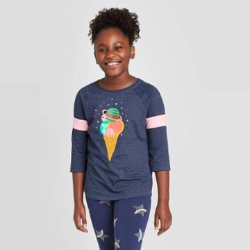 Girls' 3/4 Sleeve Planet Ice Cream Baseball T-shirt - Cat & Jack Navy L, Girl's, Size:
