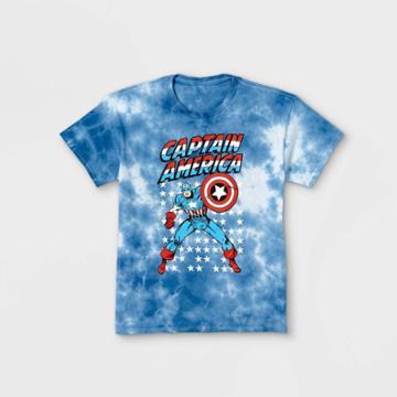 Boys' Marvel Captain America Short Sleeve Graphic T-shirt - Blue