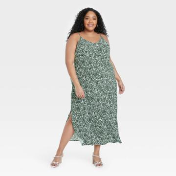 Women's Plus Size Slip Dress - A New Day Green