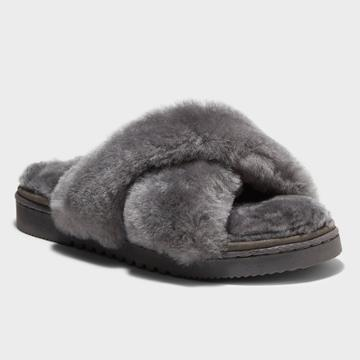 Women's Dluxe By Dearfoams Rossland Genuine Shearling Crossband Slippers - Gray