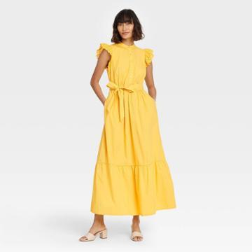 Women's Ruffle Short Sleeve A-line Dress - Who What Wear Yellow