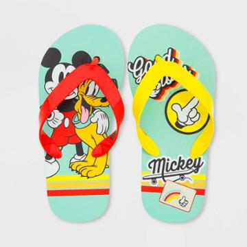 Boys' Disney Mickey Mouse Flip Flop Shoes - Green 13-1 - Disney