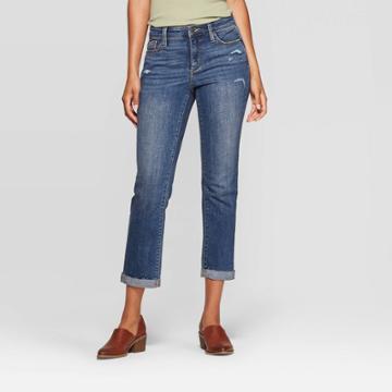 Women's High-rise Cropped Straight Jeans - Universal Thread Medium Wash 14, Women's, Blue