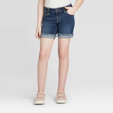 Girls' Midi Jean Shorts - Cat & Jack Dark Wash Xs, Girl's, Dark Blue