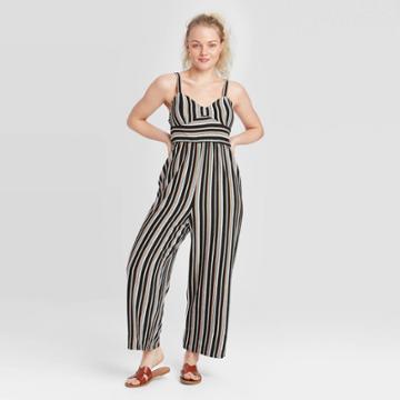 Women's Striped Sleeveless V-neck Knit Cropped Jumpsuit - Xhilaration Xs, Women's,