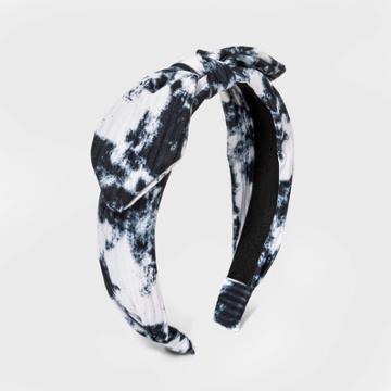 Girls' Rib Knit Tie-dye Headband - Art Class Navy