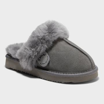 Kids' Dluxe By Dearfoams Whistler Genuine Shearling Scuff Slippers - Gray