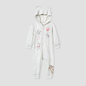 Disney Baby Girls' Winnie The Pooh And Friends Long Sleeve Hooded Fleece Coverall - Gray Newborn