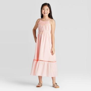 Girls' Embroidered Shine Maxi Dress - Cat & Jack Peach Xs, Girl's, Pink