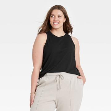 Women's Plus Size Linen Tank Top - A New Day Black