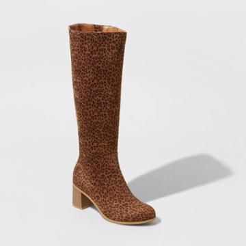 Women's Marlee Wide Calf Leopard Print Knee High Heeled Fashion Boots - Universal Thread Brown