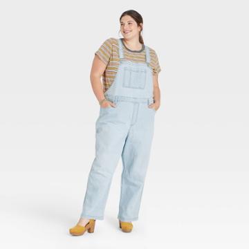 Women's Plus Size Overalls - Universal Thread Light Wash 14w,