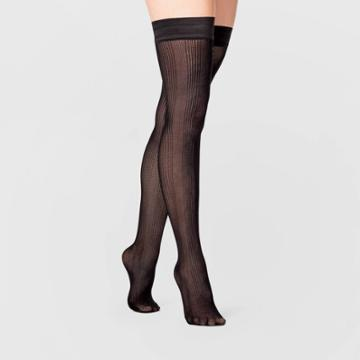 Women's Vertical Rib Thigh Highs - A New Day Black S/m, Women's, Size:
