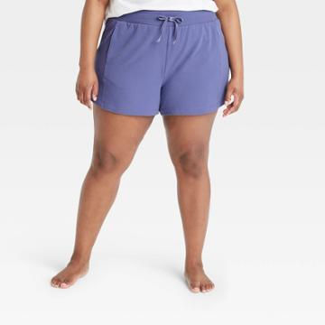 Women's Plus Size Mid-rise French Terry Shorts - All In Motion Grape 1x, Purple Purple