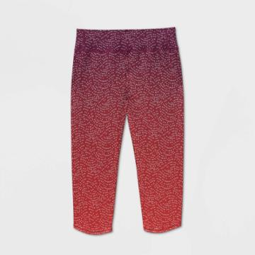 Girls' Ombre Printed Capri Leggings - All In Motion Bright Red L, Girl's,