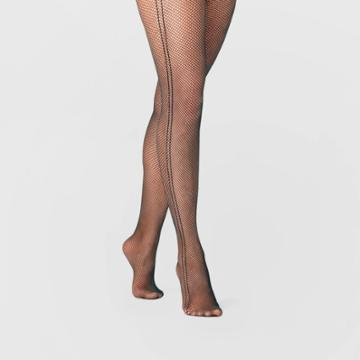 Women's Fishnet Tights With Stripe - A New Day Black S/m, Women's, Size: