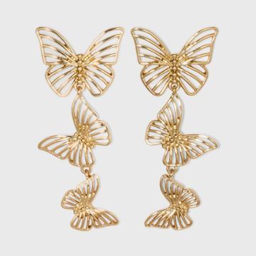 Sugarfix By Baublebar Gold Butterfly Drop Earrings - Gold