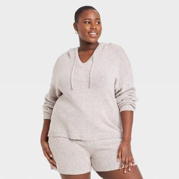 Women's Plus Size Hooded Pullover Sweater - Universal Thread Beige