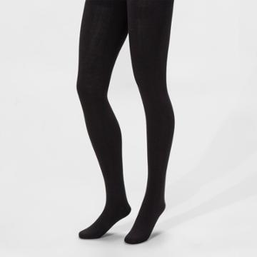 Women's Fleece Lined Tights - A New Day Black S/m, Women's, Size:
