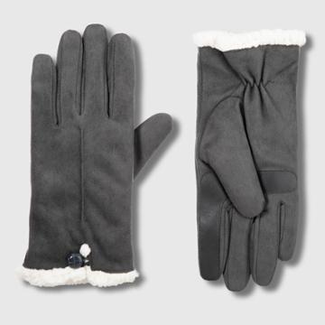 Isotoner Women's Smartdri Microfiber Glove With Smarttouch Technology - Gray S/m, Women's, Size: