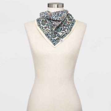Women's Floral Print Bandana Scarf - Universal Thread Cream One Size, Women's,