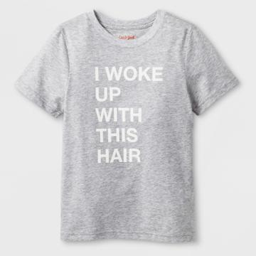 Kids' Short Sleeve 'woke Up With This Hair' Graphic T-shirt - Cat & Jack Heather Gray Xl, Kids Unisex