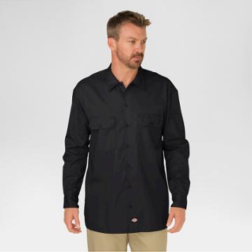 Dickies Men's Original Fit Twill Long Sleeve Shirt-black