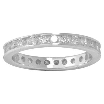 Distributed By Target Silver Plated Cubic Zirconia Eternity Band Ring - Size 6, Clear